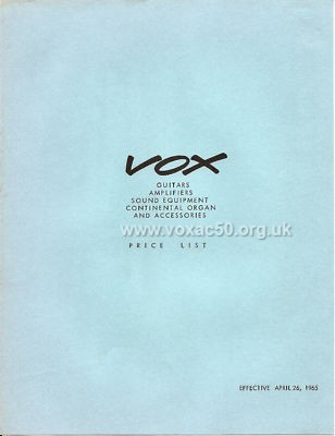 Vox dealer brochure from 1965, issued by Thomas Organ