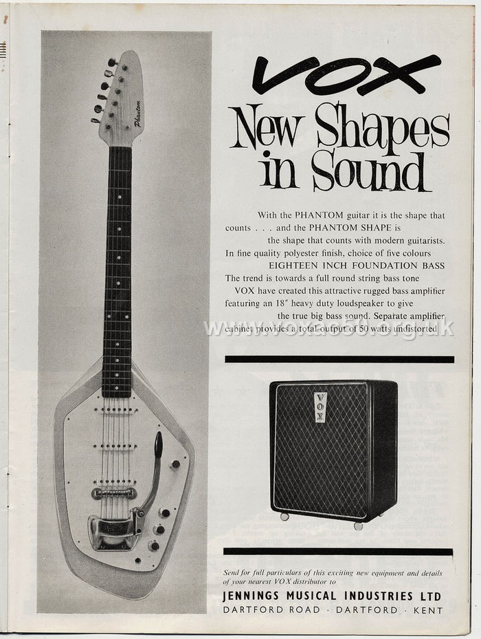Vox advert for the Foundation Bass cab, Beat Instrumental magazine, August 1963