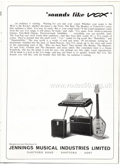 Vox advert for the Foundation Bass cab, Beat Instrumental magazine, November 1963