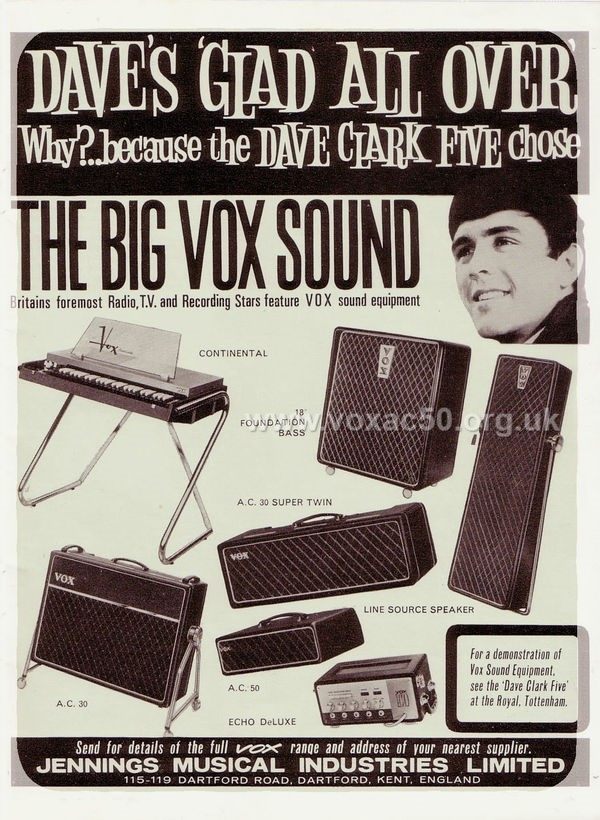 Vox advert for the AC50 amplifier, February 1964