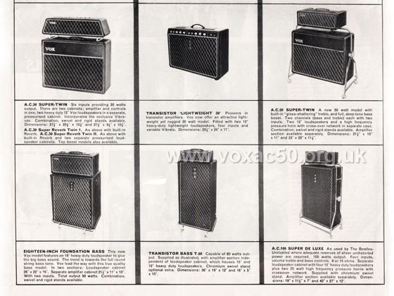 Vox advert for the new twin channel AC50 amplifier, later 1964