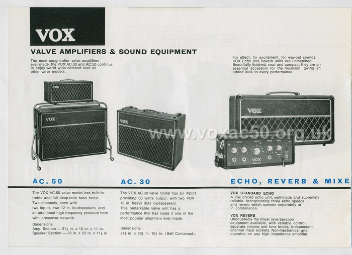 Vox advert for the AC50 in the solid state catalogue of early summer 1967