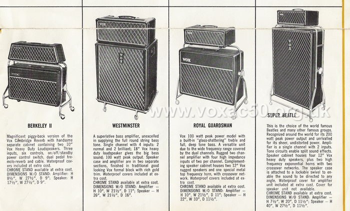 American advert for the new twin channel Vox AC50 amplifier, late 1964 or early 1965