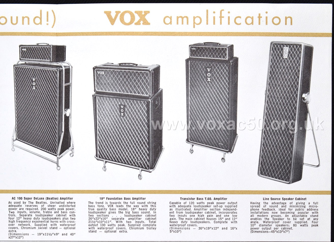 American advert for the new twin channel Vox AC50 amplifier, early 1965
