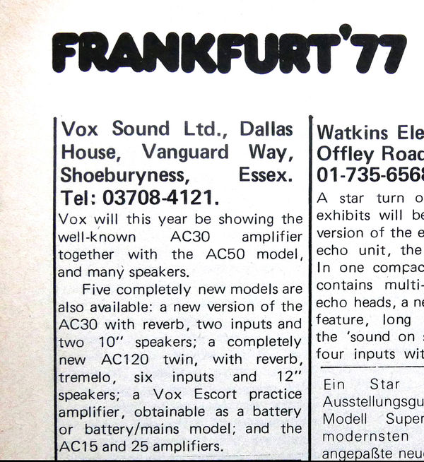 Vox Sound Limited AC50 amplifier, 1977
