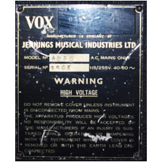 Vox AC50, large box, serial number 1503