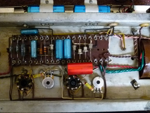 Vox AC50s with eyelet tagboards for the bias circuitry
