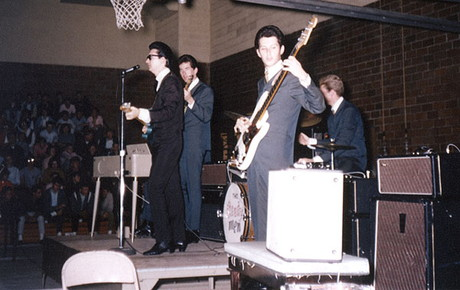 The Roy Orbison band with early large box Vox AC50 amplifiers, November 1964