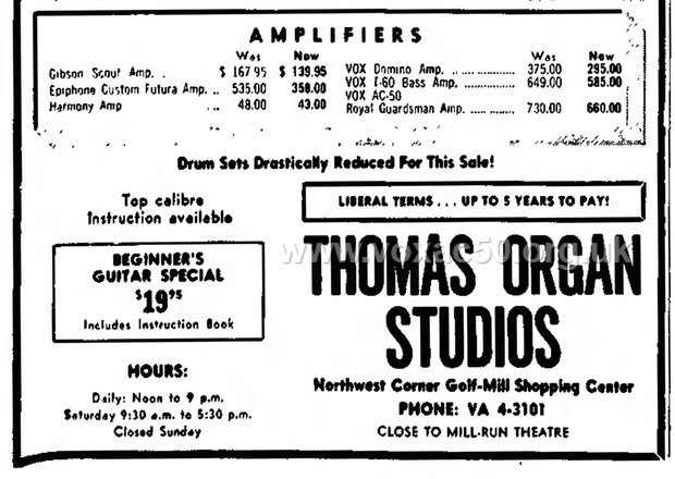 Chicago Herald August 1965, advert for an AC50 / Royal Guardsman amplifier