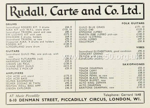 Rudall, Carte and Co., advert for a Vox AC50, June 1965