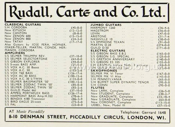 Rudall, Carte and Co., advert for a Vox AC50, November 1965