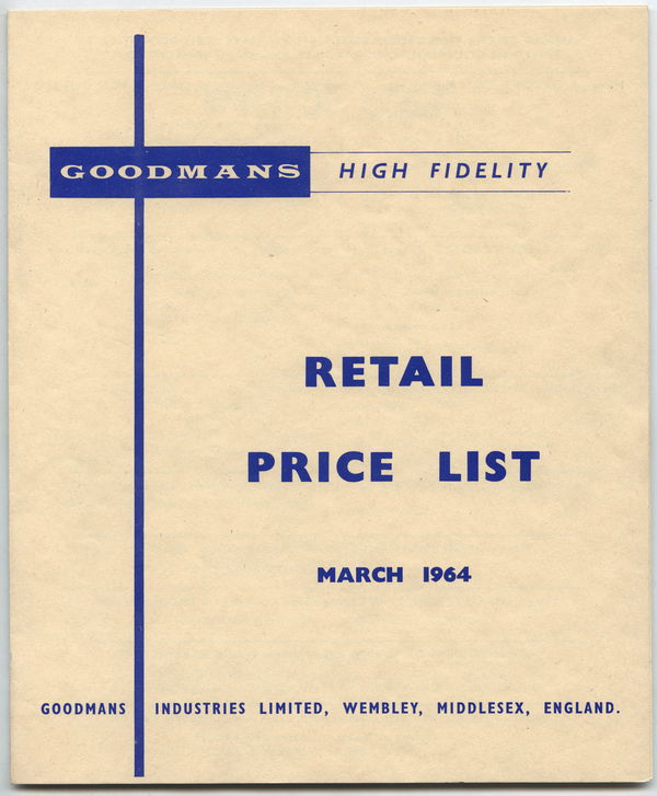Goodmans speaker pricelist, March 1964