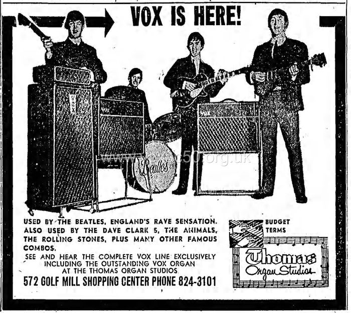 Vox advertisment, Chicago Tribune, 13 December 1964