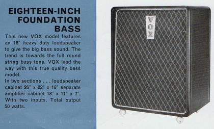 Vox advert for the Foundation Bass speaker cabinet, early 1964