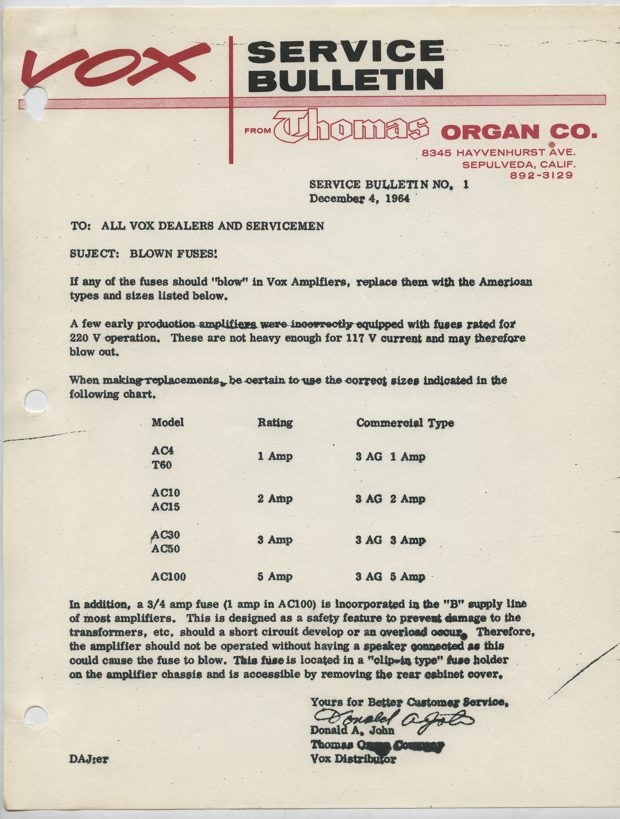 Thomas Organ service bulletin, 1964